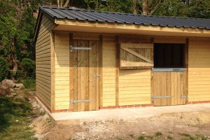 A view of the finished stable from the tack room aspect